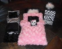 Monster high style bed and chair set with dresser and working light