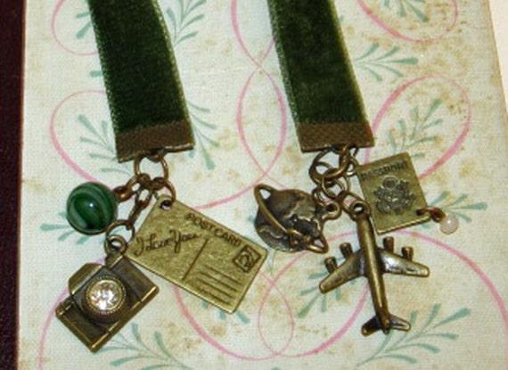 Travel Bookmark   Ribbon Bookmark   Velvet Bookmark   Traveler Book Mark   World Traveler Bookmarker   Explorer Book Marker