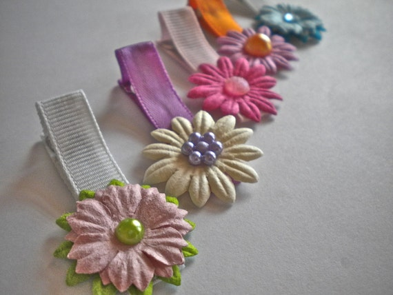 Set of 5 Flower Clippies