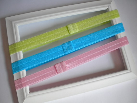 Interchangeable Elastic Headbands -- Lime Green, Bubblegum Pink, Turquoise Shimmery Elastic