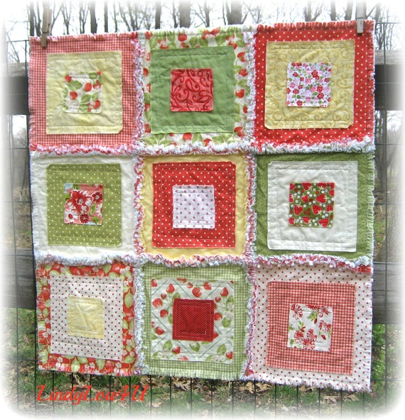 Pet Blanket - Pet Quilt - Home Decor - Pet Lover - Gladdy Tatty Original - Pastel Green Yellow Red Tone - Strawberry Fields - Ready to Ship