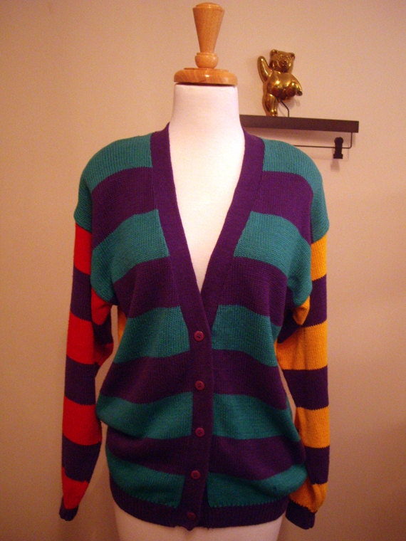 Cardigan Sweater in Colorful Purple, Green, Orange, and Yellow Stripes