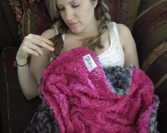 "Fucsia Flower/Gray Minky Throw Blanket, ""Posey"""