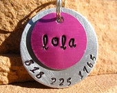 The Lola (#011) - Unique Handstamped Pet ID Tag Layered 2 Disc Dogs
