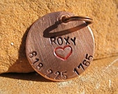 The Roxy #024 - Handstamped Pet ID Tag Copper Small Dog Cat