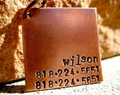 The Wilson - Unique Pet ID Tag 2 Numbers Copper Square Dogs Handstamped