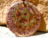 The Zephyr (#097) - Distressed Hammered Steampunk Cogs Copper Gold Unique Handstamped Pet ID Tag Layered 2 Disc Dogs