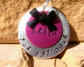 The Bella (#028) - Unique Handstamped Pet ID Tag Layered 2 Disc Bow Dogs