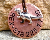 The Rex (#089) - Hammered Distressed Peace Pet ID Tag Dog Brass