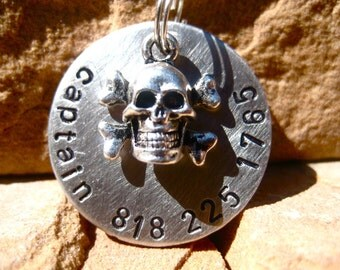 The Captain (#066) - Unique Handstamped Silver Pirate Skull Pet ID Tag Dog