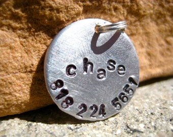 The Chase (#014) - Unique Handstamped Pet ID Tag Aluminum Small Dog Cat