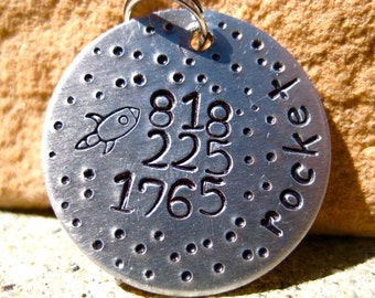 The Rocket (#034) - Unique Handstamped Pet ID Tag Silver Aluminum Galaxy Dogs