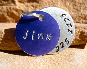The Jinx (#009) - Unique Purple Handstamped Pet ID Tag Layered 2 Disc Small Dogs Cats