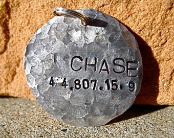 The Big Chase (#080)- Distressed Hammered Alumium Unique Handstamped Pet ID Tag Dogs Larger