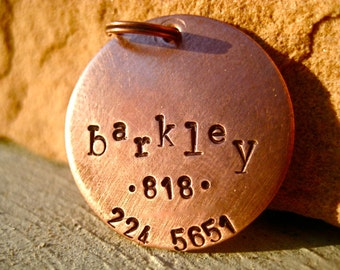 The Barkley (#005)  - Unique Handstamped Pet ID Tag Copper Dogs Larger