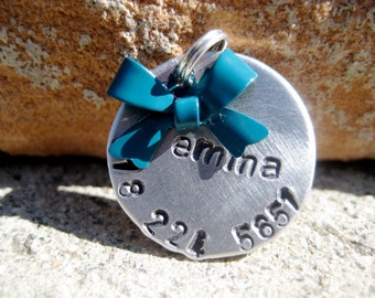 The Emma (#007) - Bow Pet ID Tag Small Dog Cat Feminine Unique Handstamped