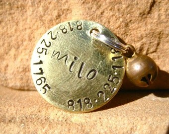 The Milo (#121) - Unique 2 Phone Number Pet ID Tag Brass Small Dog Cat Handstamped