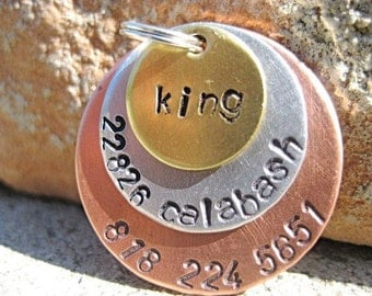 Metal Madness King (#077) - Handstamped Pet ID Tag Layered Dogs