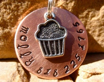 The Molly (#011) - Unique Handstamped Pet ID Tag Silver Cupcake Dog Tag