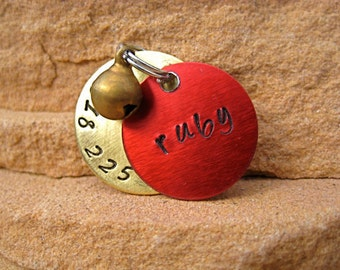 The Ruby (#035) - Unique Red Brass Bell Pet ID Tag Brass Small Dog Cat Handstamped
