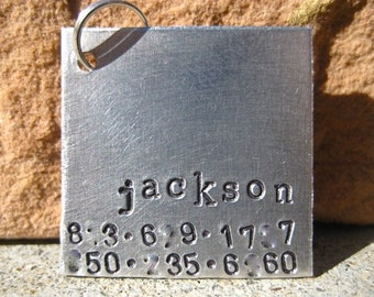 The Jackson (#046) - Unique Pet ID Tag 2 Numbers Aluminum Square Dogs Handstamped