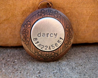 The Darcy (#086) - Locket Handstamped Pet ID Tag Antique Copper Unique Dog