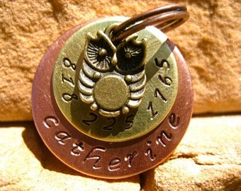 The Catherine (#081) - Owl Pet ID Tag Dog Tag Hand-Stamped Copper Brass Layered Tag