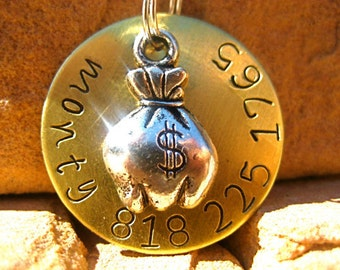 The Monty (#042) - Unique Handstamped Money Bag Bling Pet ID Tag Dog Tag