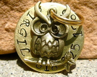 The Virgil (#120) - Unique Handstamped Wise Owl Pet ID Tag Dog