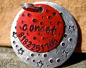 The Comet (#093) - Unique Handstamped Pet ID Tag Red Silver Aluminum Galaxy Dogs