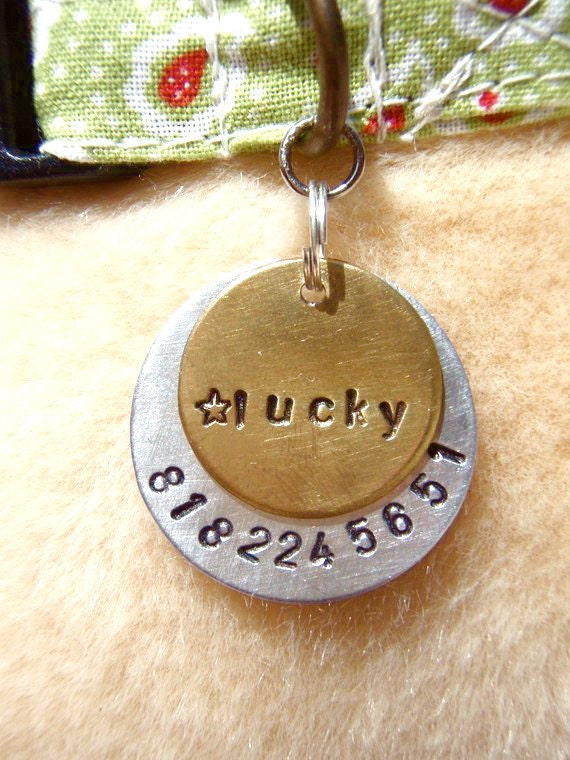 Lucky Star (#122) - Unique Handstamped Pet ID Tag Layered 2 Disc Dogs Brass Aluminum