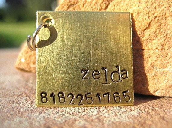 The Zelda (#101) - Unique Pet ID Tag Brass Square Small Dogs Cats