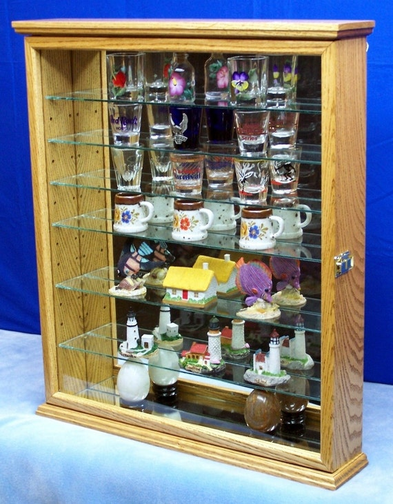 Wall Curio Cabinet Display Oak Hardwood Display for Shot Glasses and Miniatures