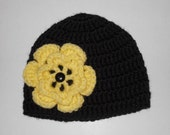 Black Beanie With Yellow Flower