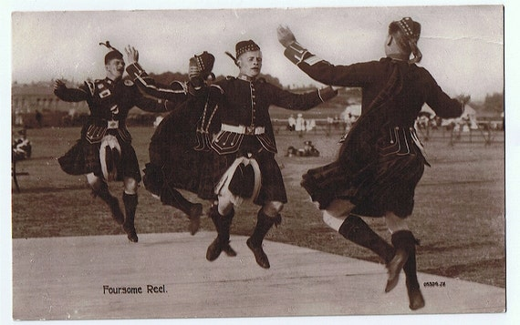 Kilts and Reels - Male Scottish Dancers Doing the Foursome Reel - Valentine's Real Photo PC ca 1915