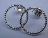 Circle Stud Earrings- Twisted Rope  ETHIOPIAN Sterling-  CLASSIC