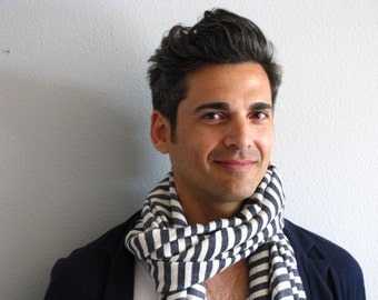 Gray and creme white striped wool + cotton blend scarf- grey scarf for men or women unisex- Ethiopian scarf- gift idea