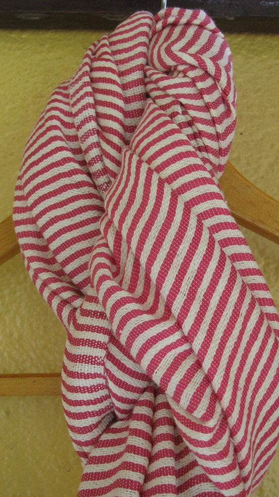 Pink Cotton Scarf- Pink/rose & White Cotton Scarf,  Women Hand-woven  Ethiopian Cotton  long fashionable trendy scarf Gift for her