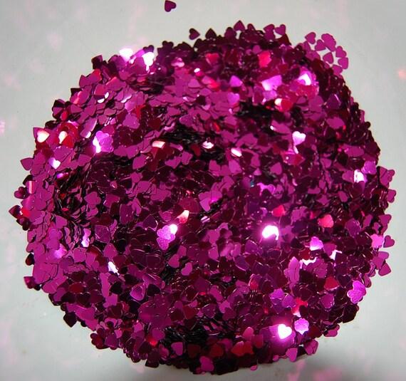 Fuschia Hearts Glitter Small