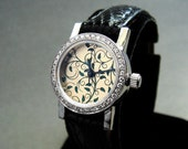 Wristwatch handcrafted with diamond bezel in sterling silver