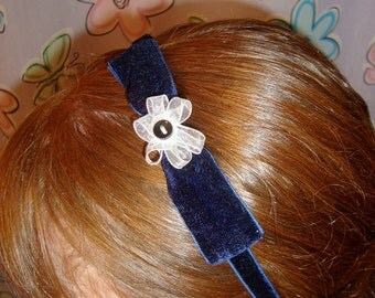 Navy Blue Velvet Headband With Bow and Flower