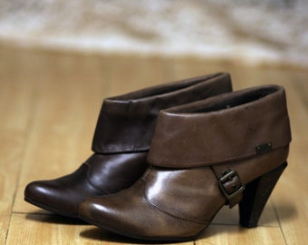90s Replay Brown Leather Ankle Boots Booties EUR 40 / US9