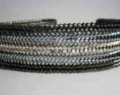 Black, Silver Beaded Herringbone Bracelet, Beadwork