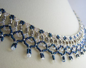 Blue Necklace - Beaded Necklace - Netting Necklace - Seed Bead Jewelry - Collar Necklace - Beadwork Jewelry - Beaded Collar