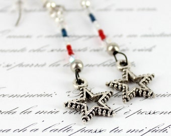 Red White and Blue Earrings - Independence Day Jewelry - Long Dangle Star Earrings - Beaded Jewelry - Seed Bead Earrings - Freedom Jewelry