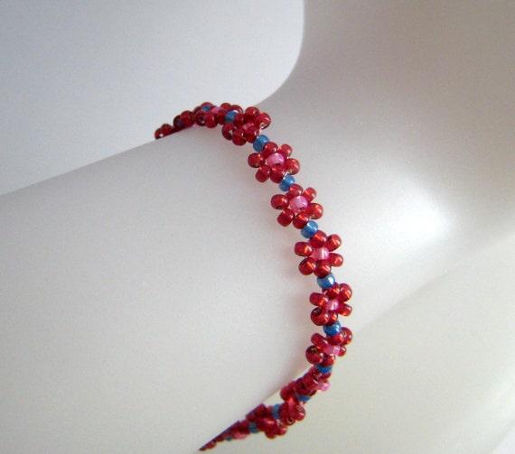 Pink Girls Beaded Daisy Chain Bracelet Blue, Beadwork