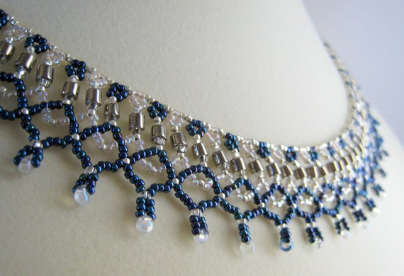 blue necklace beaded necklace netting necklace by