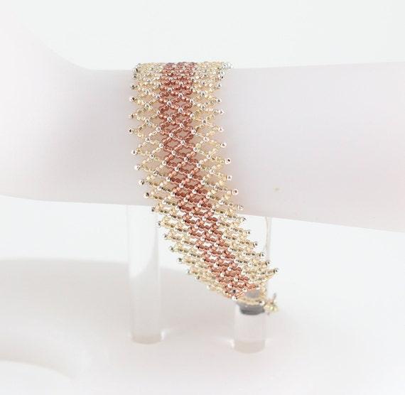 Netted Bracelet - Beadwork Jewelry - Seed Bead Bracelet - Beaded Jewelry - Gold Brown Bracelet - Bead Lace Bracelet