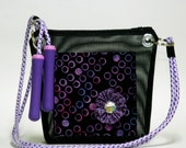 Girls purse accessory, purple, jump rope handle, mesh style, nintendo ds, book bag - Abby's Road Bag