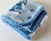 Newborn baby fleece blue blanket, crocheted edge, lamb print